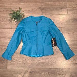 NWT SHAPE FX Slimming Teal Blue Leather Jacket